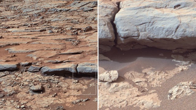 "PHOTO: NASA's Curiosity Mars rover provided images of the lower stratigraphy at ""Yellowknife Bay"" inside Gale Crater on Mars which showed veins and concretions strongly suggest precipitation of minerals from water."