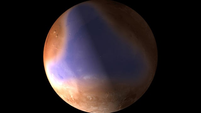 PHOTO: Europes Mars Express probe, orbiting the red planet, has sent back radar data reaffirming scientists belief that the northern hemisphere of Mars once had vast oceans.