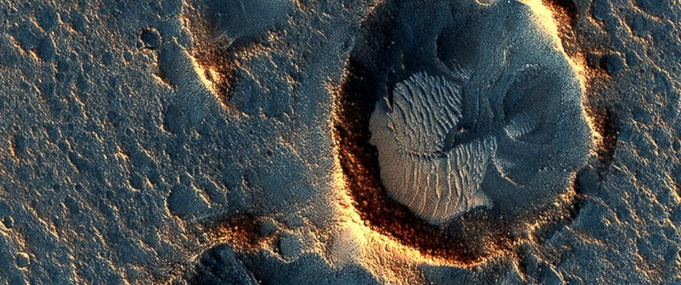 """PHOTO: Images taken by the Mars Reconnaissance Orbiter show where the fictional astronaut in """"The Martian"""" would have been stranded."""