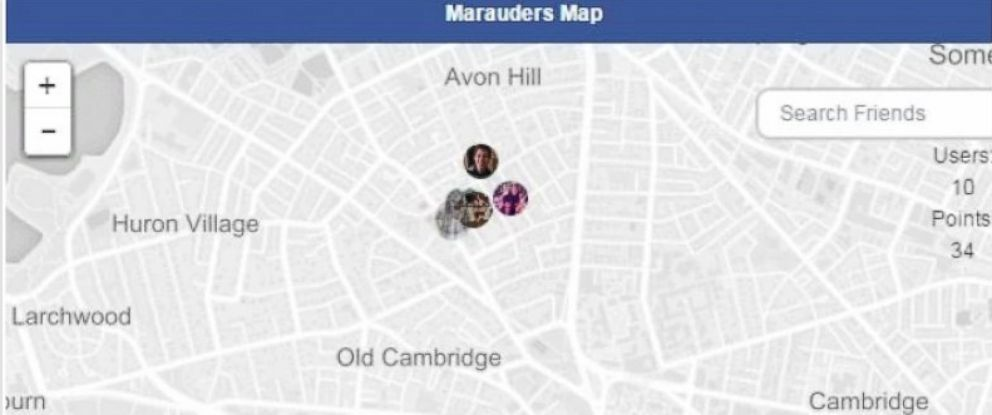 """PHOTO: The """"Marauders Map"""" Chrome extension promises to allow you to map your friends locations from their Facebook messages."""