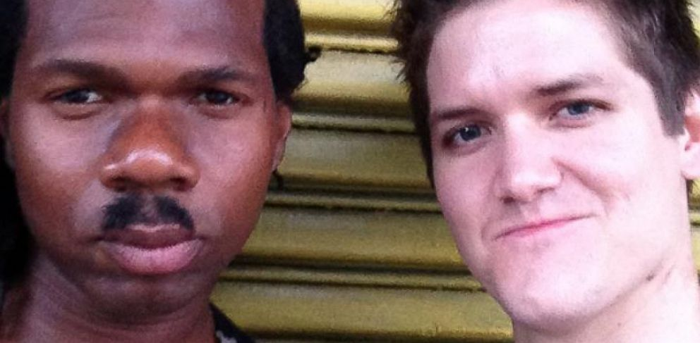 PHOTO: Patrick McConlogue (left) plans to teach Leo (right), a New York City homeless man, to write software and create websites.