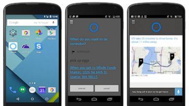 PHOTO: Images released by Microsoft on May 26, 2015 show the Microsoft Cortana application running on an Android phone.