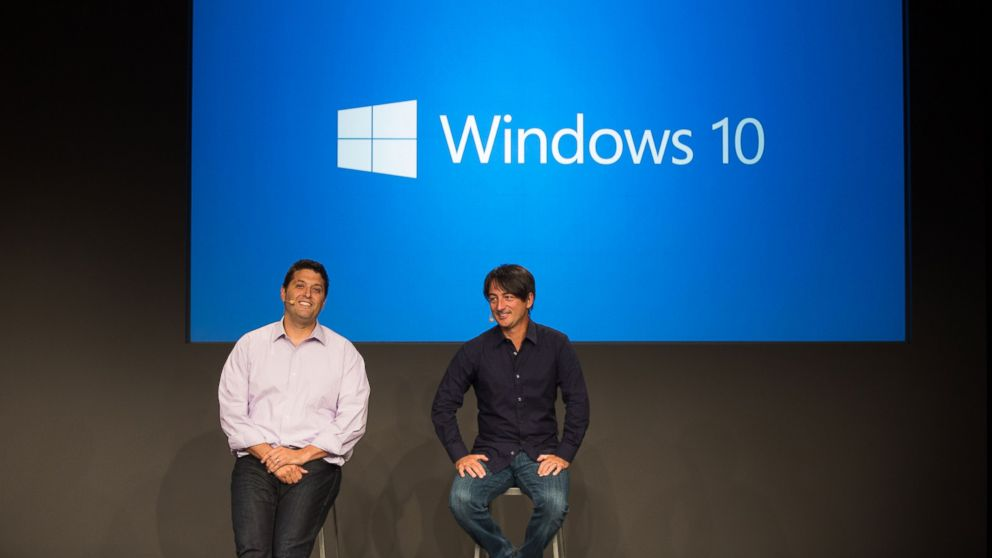 PHOTO: Terry Myerson and Joe Belfiore are seen in this undated file photo at a Q&A session for Microsofts Windows 10.