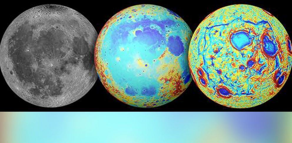 PHOTO: Earths moon is pictured as observed in visible light, left, topography, center, and the GRAIL gravity gradients, right.