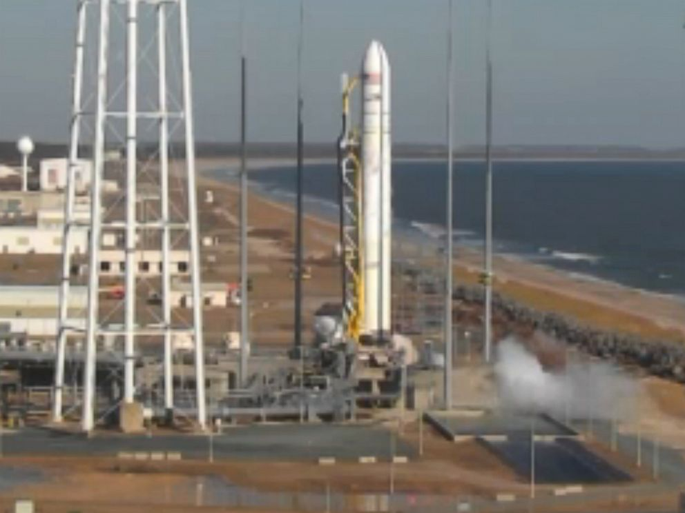PHOTO: The Antares rocket was launched from a beachside pad at NASA's facility at 1:07 pm ET. The launch was delayed one day due to a huge solar flare.