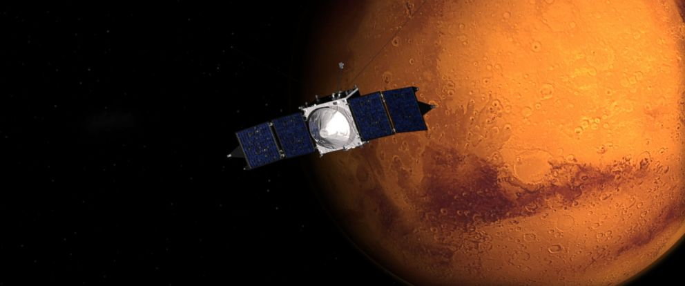 PHOTO: This image shows an artist concept of NASAs Mars Atmosphere and Volatile EvolutioN (MAVEN) mission.