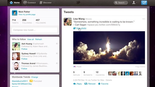 PHOTO: Twitter is introducing a newly re-designed site. Chief among the changes are tabs across the top of the screen -- Home, Connect and Discover.