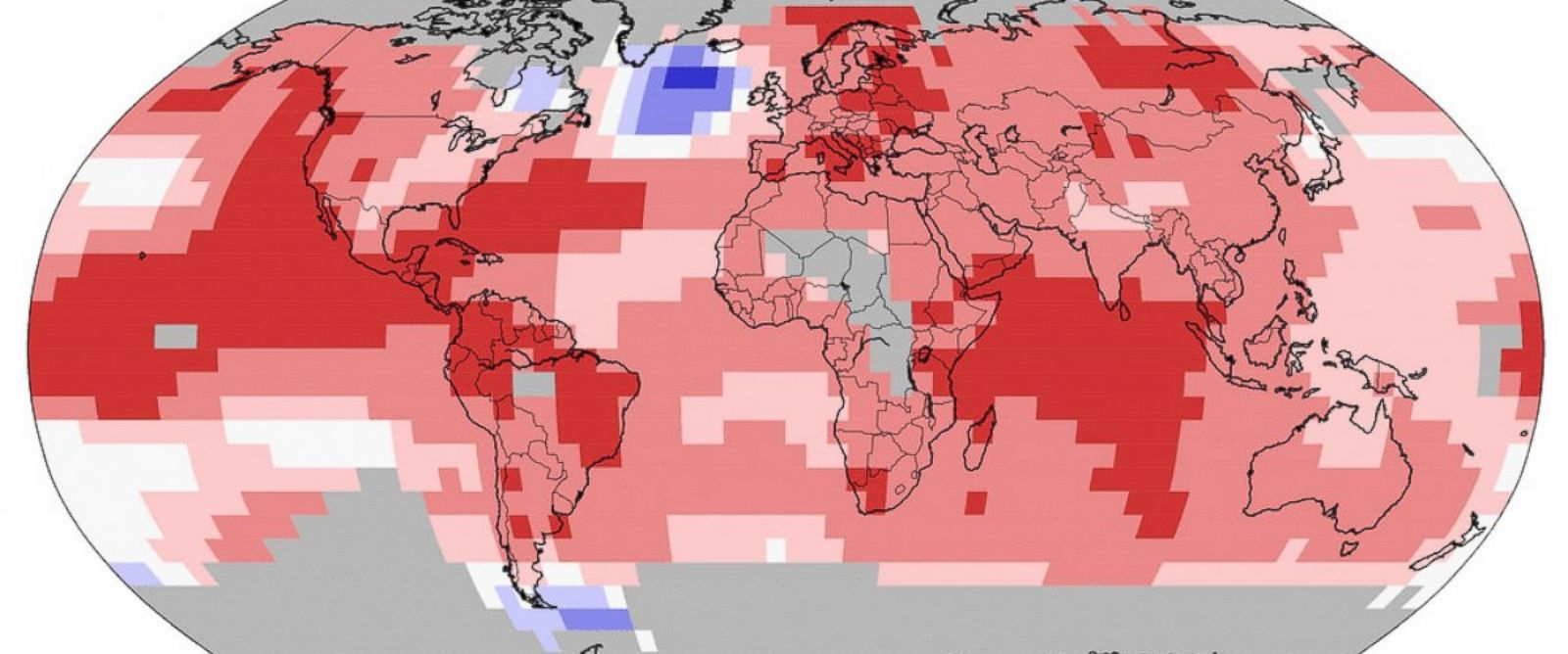 PHOTO: An image from NOAA shows the areas of the world that have experienced warmer-than-average and record warm temperatures in 2015.