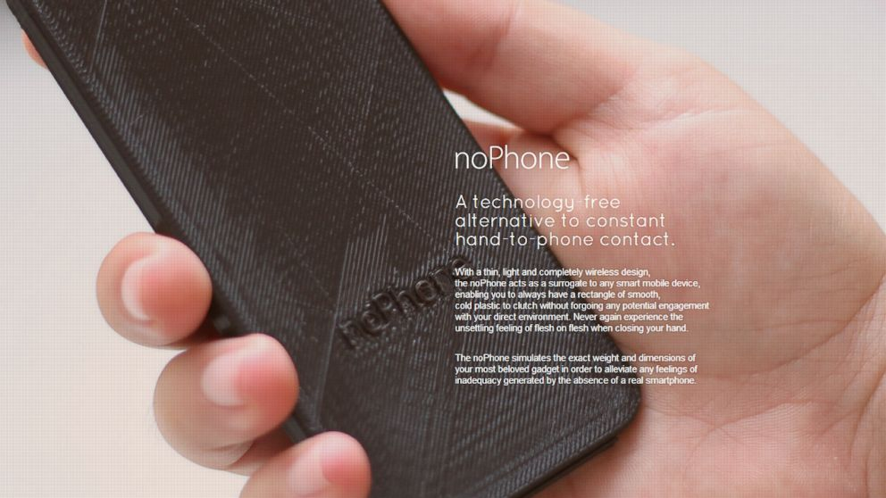"PHOTO: A screen grab made on Aug. 20, 2014 shows the noPhone website which is marketing a, ""technology-free alternative to constant hand-to-phone contact."""
