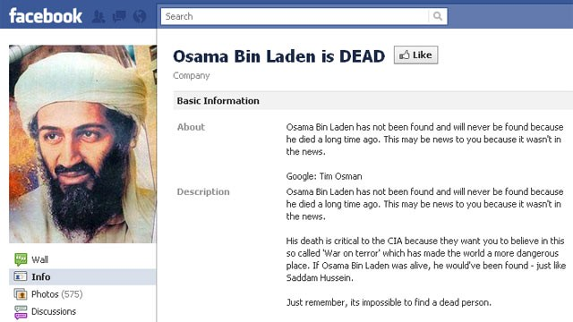 PHOTO:&nbsp;This 'Osama Bin Laden is Dead' Facebook page has gone viral, May 2, 2011.