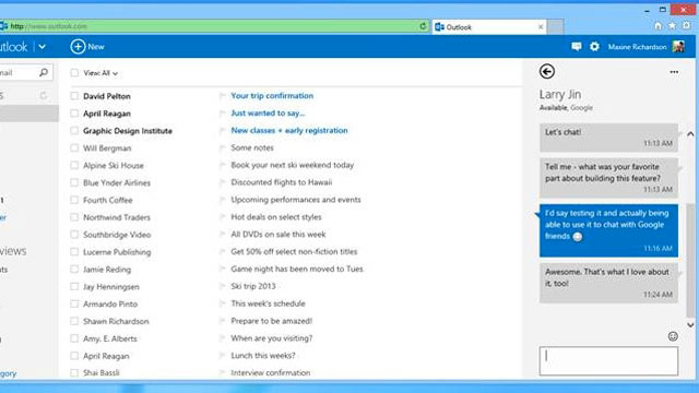 PHOTO: Microsoft adds Google Chat functionality to Outlook.com.