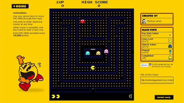 PHOTO: The website The World's Biggest Pac-Man turns the classic arcade game into a massive online diversion.