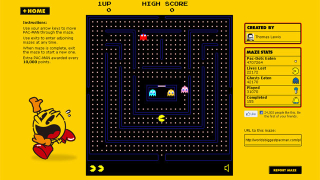 PHOTO: The website The Worlds Biggest Pac-Man turns the classic arcade game into a massive online diversion.