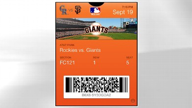 PHOTO: The MLB Passbook app pops up your ticket as you enter the stadium.