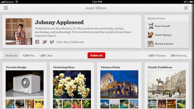 PHOTO: Pinterest, a social photo sharing website, is launching app versions for iPad and Android devices.