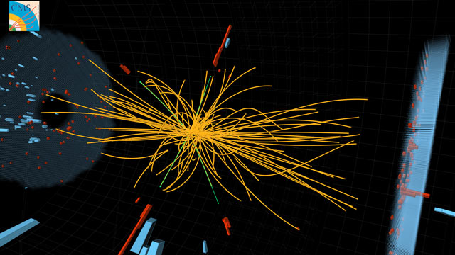 PHOTO: Real CMS proton-proton collision events in which 4 high energy electrons (green lines and red towers) are observed.