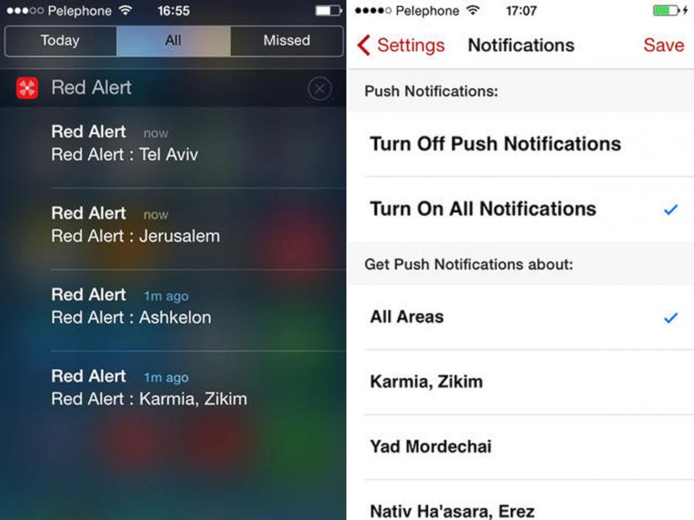 PHOTO: Sample screens from the Red Alert: Israel iPhone app, which the makers claim, provides real time alerts every time a terrorist fires rockets, mortars or missiles into the State of Israel.