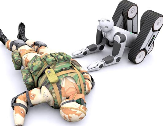 Robot Extracts Wounded Soldiers