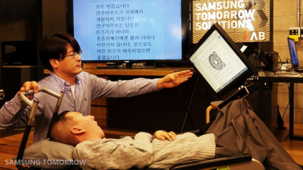 PHOTO: Samsung unveiled the EYECAN+, a second generation mouse that allows people with disabilities to composed and edit documents with their eyes.
