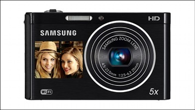 PHOTO: Samsung's DV300F wireless camera has a display on the front.