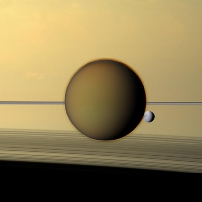 Saturn's Rings and Moons Seen from Cassini
