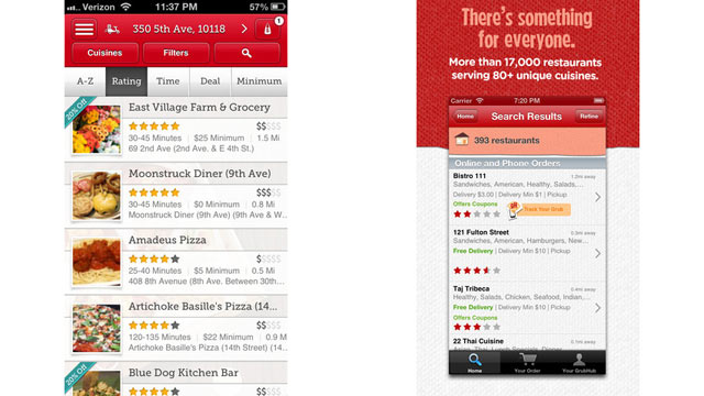 PHOTO: Seamless and Grubhub Apps