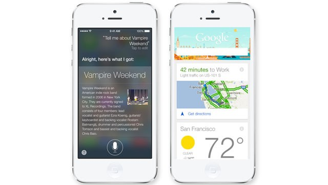 PHOTO: Apples new Siri pictured left, Google Now pictured right.