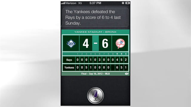 PHOTO: In iOS 6 Siri knows more about sports and movies.