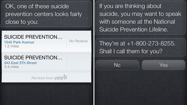 Siri now provides access to suicide prevention sources.