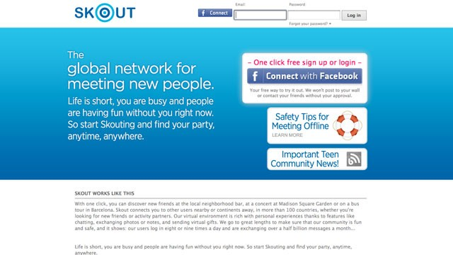 PHOTO: Skout's website, a popular mobile flirting application, is seen here.