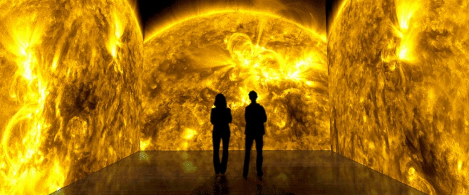 PHOTO: A conceptual animation of a solarium immerses viewers in footage of solar flares.