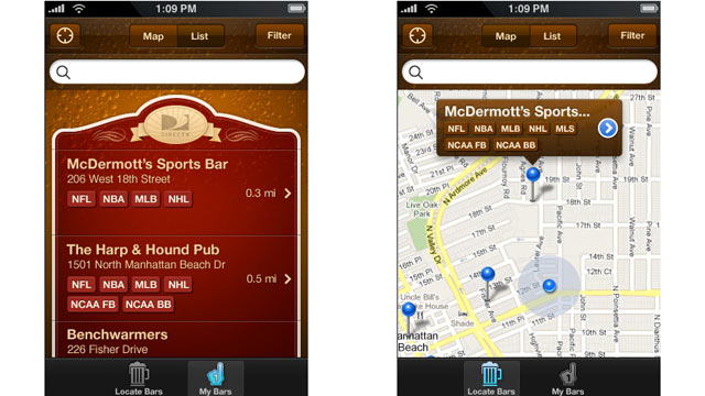 PHOTO: Sportsbar Finder App for iPhone.