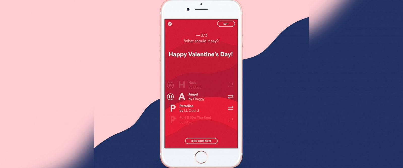 PHOTO: Spotify will turn your love note into a playlist this Valentines Day.