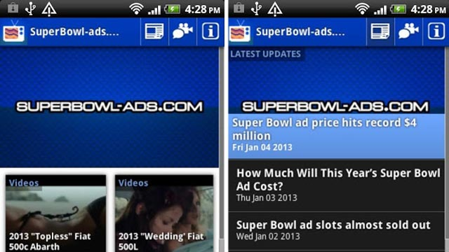 PHOTO: SuperBowl-Ads.com brings the latest Super Bowl ads and information about them right to your Android phone.