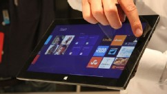 PHOTO: Microsoft's Surface Tablet RT tablet, which runs Windows 8, is displayed at the Microsoft launch event on June 18, 2012.