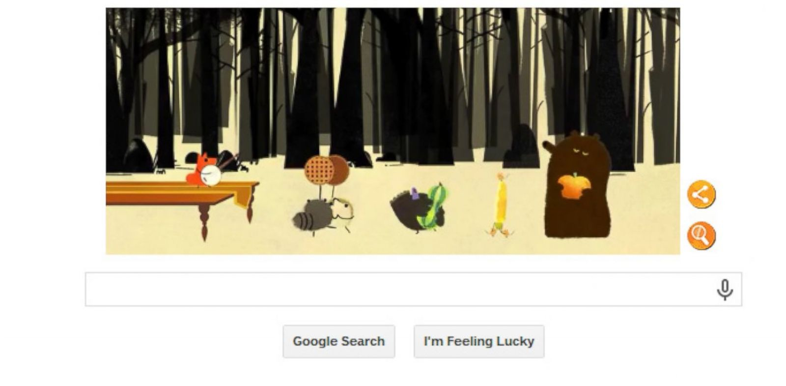 PHOTO: Google goes to the woods to celebrate Thanksgiving in todays Google Doodle.