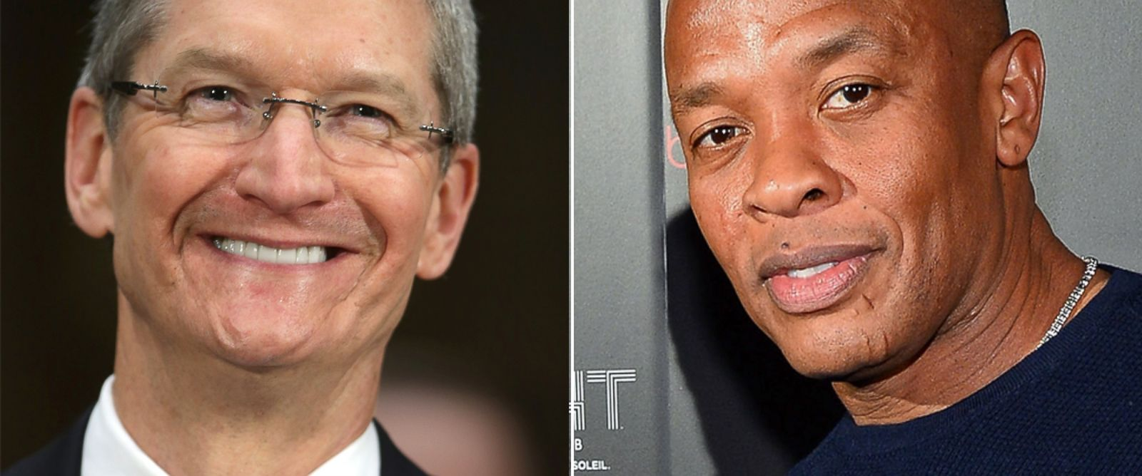 PHOTO: Apple CEO Tim Cook during the keynote address during the Apple Worldwide Developers Conference, June 10, 2013 in San Francisco, Calif. | Dr. Dre arrives at a Beats by Dr. Dre CES after party, Jan. 9, 2014 in Las Vegas, Nevada.