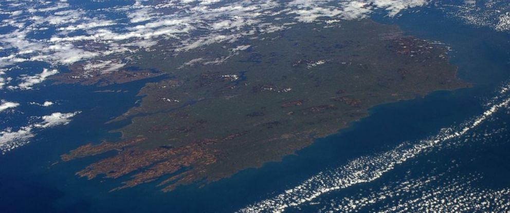 "PHOTO: This image was shared on astronaut Tim Peakes Twitter account on March 17, 2016 with the text, ""The Emerald Isle looking lush and green from space...Happy #StPatricksDay to all down there!"""