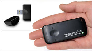 PHOTO The TrackStick Mini, which resembles a double-wide USB flash drive, is a small GPS tracker that continuously records its exact route