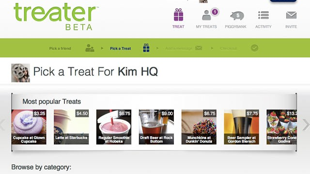 PHOTO: Treater, an online gift-giving service, launched in August 2012.