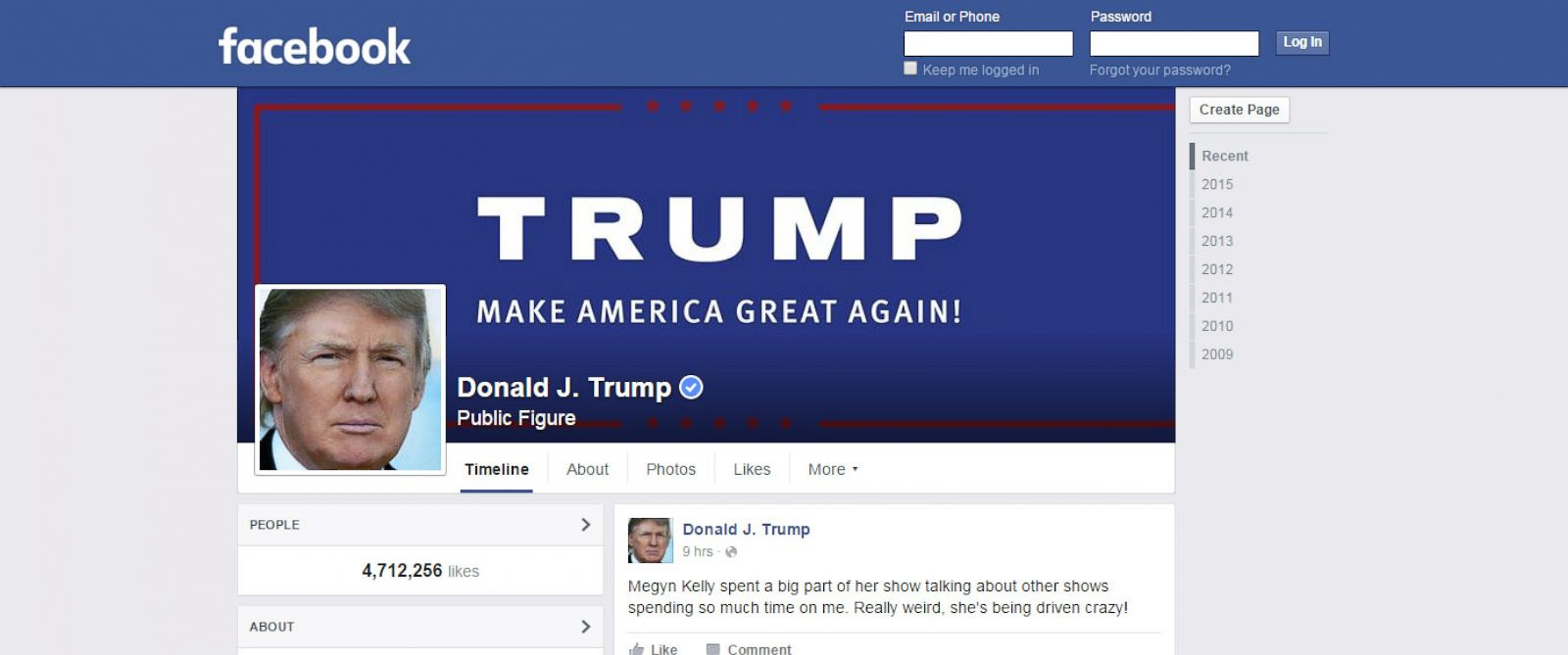 PHOTO: Donald Trumps official Facebook page is shown in a screen capture made on Dec. 10, 2015.