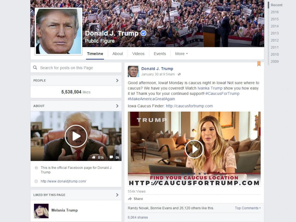 PHOTO: A screen grab made from the Donald Trump Facebook page on Feb. 1, 2016 shows a video featuring Ivanka Trump explaining how to caucus for her father.