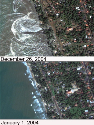 The satellite image of the Asian tsunami disaster was captured on Dec.