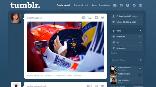 Screenshot of tumblr the popular blogging based social network tumblr