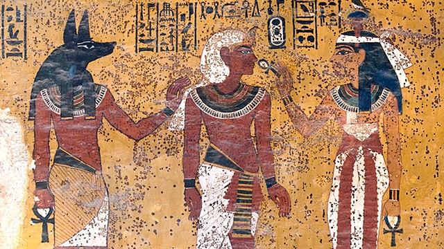 PHOTO:&nbsp;In Tutankhamen's tomb, Hathor, goddess of the west, welcomes the pharaoh to the underworld. Note brown splotches on the wall.