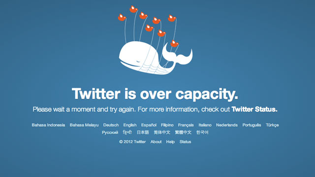 PHOTO: Twitters Fail Whale appears when the site goes down.