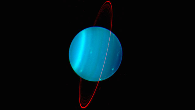 PHOTO: Planet Uranus is seen in this composite image by the Keck II Telescope at near infrared wavelengths.