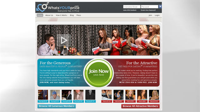 "PHOTO: A screen grab from the home page of a new dating web site called, ""WhatsYourPrice.com."""