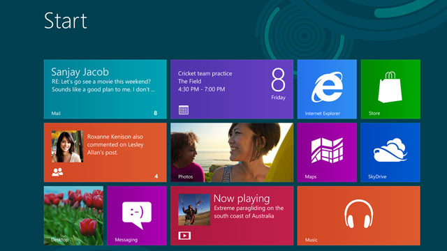 PHOTO: The Windows 8 Release Preview homescreen is pictured.