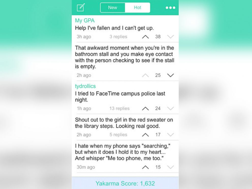 PHOTO: Screenshot of the Yik Yak social media app for smartphones.